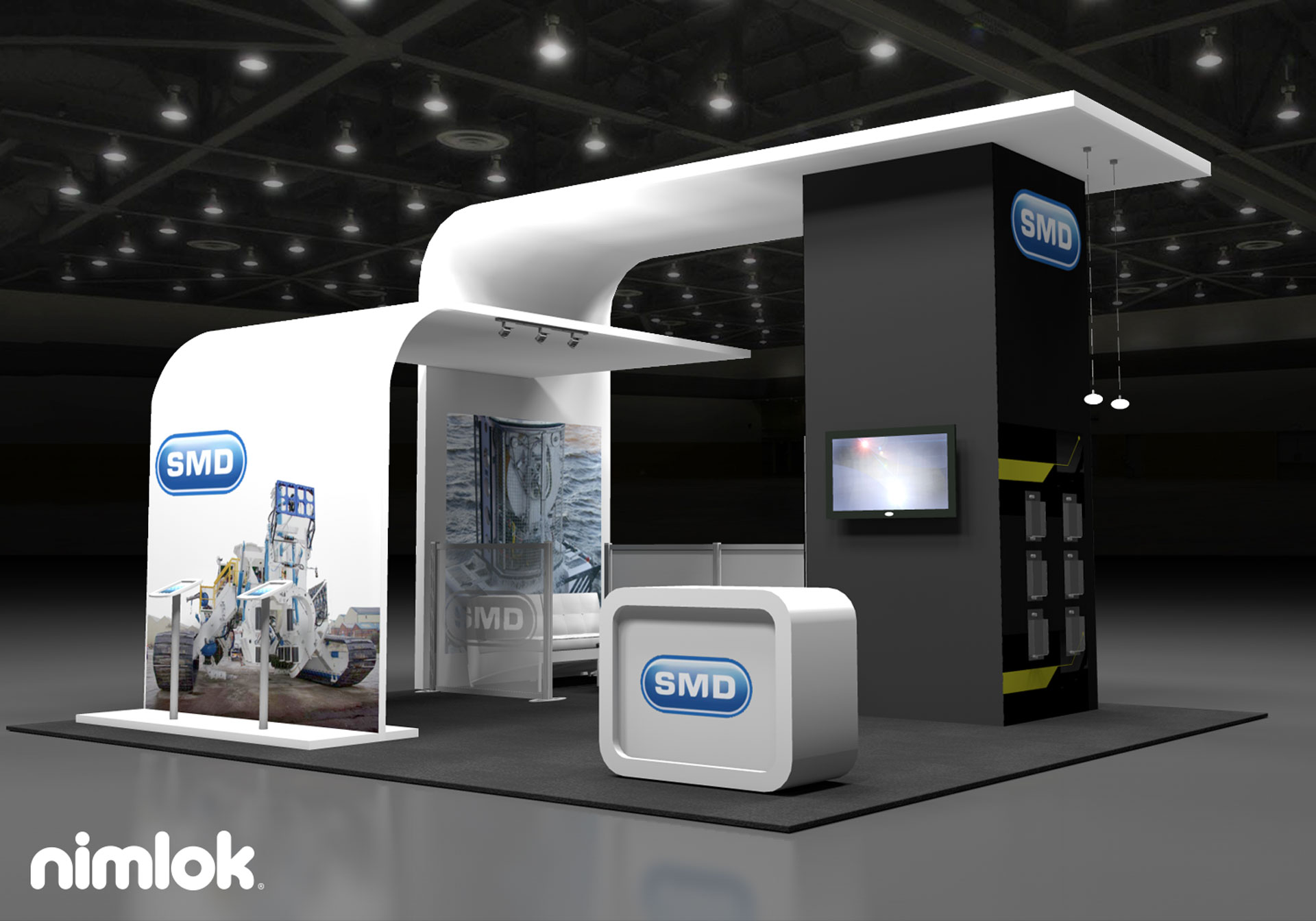 Smd custom 20x20 island trade show exhibit nimlok for Stand modulaire