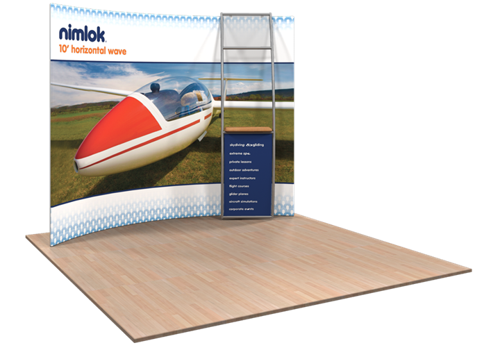 Wave HC5 Horizontal Curve 10ft Fabric Display - portable display