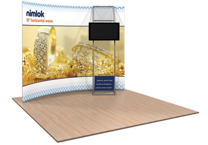Wave HC7 Horizontal Curve 10ft Fabric Display - portable display