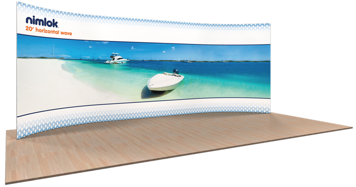 Wave H-01 Horizontal Curve 20ft Fabric Display - portable display