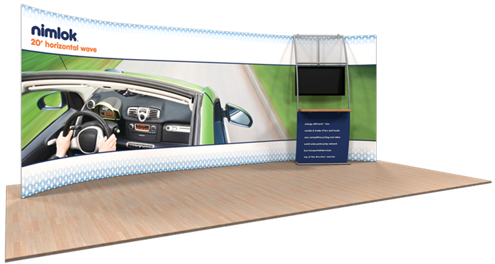 Wave H-02 Horizontal Curve 20ft Fabric Display - portable display