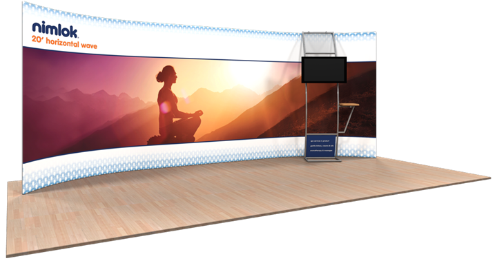 Wave H-04 Horizontal Curve 20ft Fabric Display - portable display