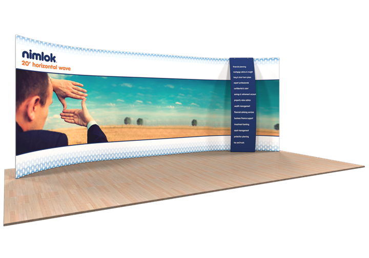 Wave H-06 Horizontal Curve 20ft Fabric Display - portable display