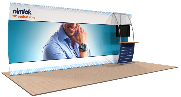 Wave V-02 20ft Vertical Curve Fabric Display - portable display