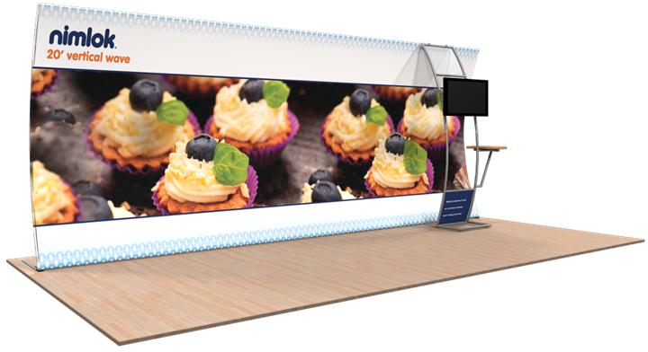 Wave V-03 20ft Vertical Curve Fabric Display - portable display