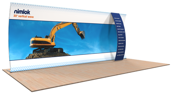 Wave V-05 20ft Vertical Curve Fabric Display - portable display